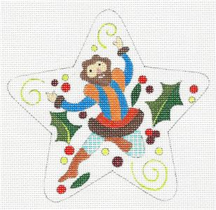 "Star~ 12 Days ""10 LORDS LEAPING"" Star HP Needlepoint Canvas by Raymond Crawford"