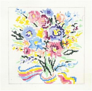 "*New* JOY OF SUMMER Floral handpainted 8"" Sq. 13m Needlepoint Canvas Jean Smith"