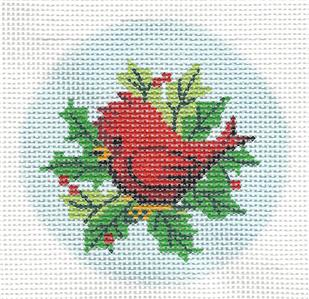 "Round~Cardinal in Holly & Berries 3"" Rd. handpainted Needlepoint Canvas by LEE"