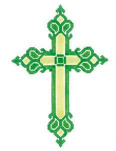 "Cross~ Elegant 7"" tall Green CROSS handpainted Needlepoint Canvas by LEE"