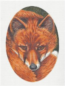 Canvas~ Fox Face Oval handpainted Needlepoint Canvas by LIZ from Susan Roberts