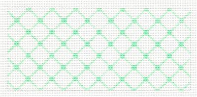 "Canvas Insert~ Mint Green Design handpainted ""BB"" Needlepoint Canvas by SOS from LEE"