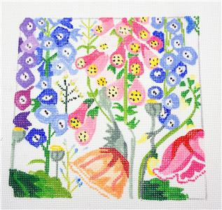 Small Garden Treasures handpainted 13m Needlepoint Canvas by Jean Smith Designs