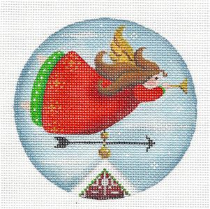 Round ~Angel Weather Vane Ornament handpainted Needlepoint Canvas by Rebecca Wood *** MAY NEED TO BE SPECIAL ORDERED***