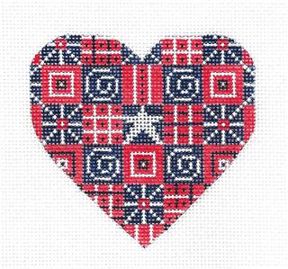 Heart~Patriotic R, W & B HEART handpainted Needlepoint Ornament by CH Designs Danji