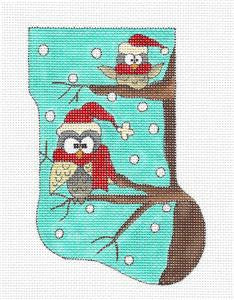 Stocking ~ Woodland Christmas Santa Owls Mini Sock Needlepoint Ornament Renaissance