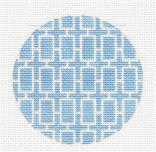 Round~Light Blue Rect. Design Rd. handpainted Needlepoint Canvas by SOS from LEE