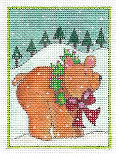 Square ~ Woodland Christmas Bear & Wreath HP Needlepoint Canvas Renaissance Design