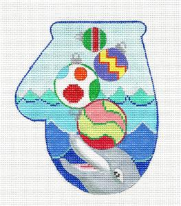 Mitten~Dolphin Play Mitten handpainted Needlepoint Canvas by KAMALA from JulieMar