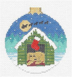 Christmas~Puppy Dog waiting for Santa HP Needlepoint Ornament by Susan Roberts