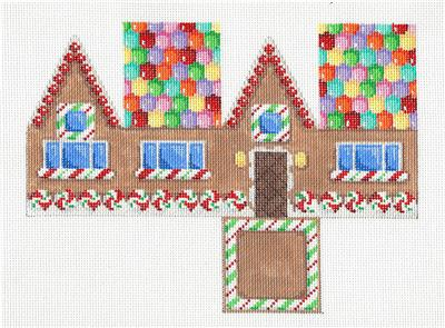 Canvas-Gum Drop Roof Gingerbread 3-D Cottage HP Needlepoint Canvas Assoc.Talents