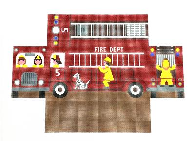 Brick Cover~Fire Truck Brick Cover Door Stop handpainted Needlepoint Canvas S.Roberts  SP.ORDER