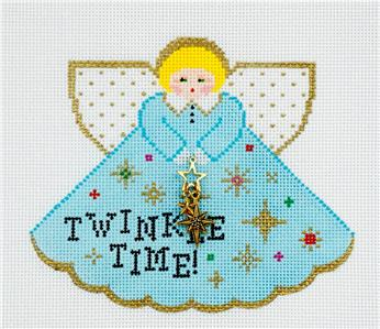 Angel~Twinkle Time Angel & Charm handpainted Needlepoint Canvas by Painted Pony