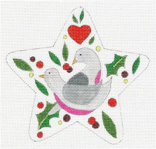 "Star~ 12 Days ""2 TURTLE DOVES"" Star HP Needlepoint Canvas by Raymond Crawford"