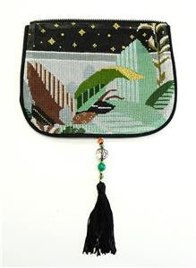 Bag Flap ~Leaves *FLAP ONLY* Evening Purse handpainted Needlepoint Canvas ~by Sophia