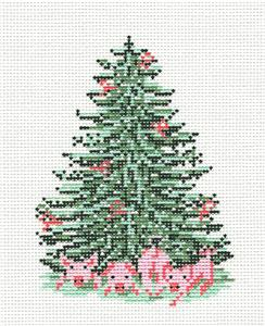Canvas~ Pink Piggies Pig Christmas Tree handpainted Needlepoint Canvas Needle Crossings