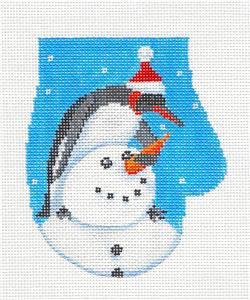 Mitten- Penguin Building a Snowman Mitten Handpainted Needlepoint canvas Scott Church