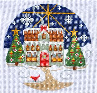 Village Series Green House w/Cardinal HP Needlepoint Ornament by CH Design Danji