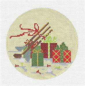 "Kelly Clark Christmas –Elegant ""Golfing Gifts"" handpainted Needlepoint Ornament"