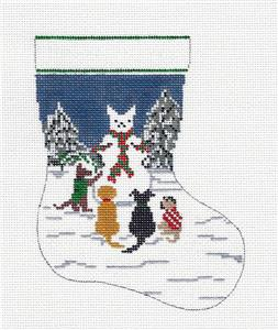 Stocking~4 Dogs Building Snowman 13m Mini Stocking HP Needlepoint Canvas~by Needle Crossings