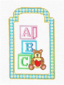Baby Gift Tag ~ NEW BABY A,B,C GIFT TAG handpainted Needlepoint Canvas by Strictly Christmas