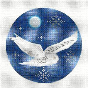 Round ~ Snowy Owl in Moonlight handpainted Needlepoint Canvas by Rebecca Wood
