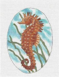 Canvas~SEAHORSE Oval handpainted Needlepoint Ornament Canvas by LIZ from S.Roberts