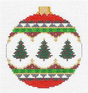 Christmas~3 Elegant Trees handpainted Needlepoint Ornament Canvas by Susan Roberts