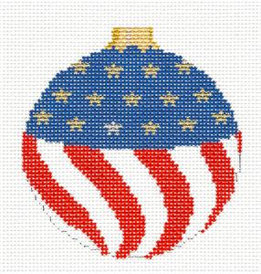 Christmas~ Patriotic Flag Ornament handpainted Needlepoint Canvas by Susan Roberts