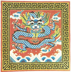 Canvas ~ The Blue Dragon 16x16 on 12 mesh handpainted LG. Needlepoint Canvas by LEE