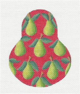 Kelly Clark Pear- Green Anjou Pears on Red handpainted Needlepoint Ornament by Kelly Clark