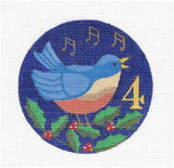 12 Days of Christmas 4 Birds with STITCH GUIDE & HP Needlepoint canvas Juliemar