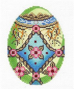 Faberge LEE Jeweled Egg Floral with Gold Braid handpainted Needlepoint Canvas Ornament LEE