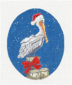 Oval- Christmas Pelican on a Wharf handpainted Oval Needlepoint Canvas by Scott Church