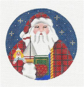 Round ~GERMAN SANTA Ornament handpainted Needlepoint Canvas by Rebecca Wood~MAY NEED TO BE SPECIAL ORDERED