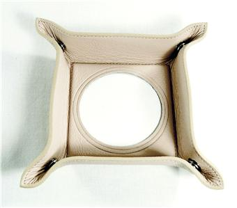 "Accessory~LEE Lite Tan Square Leather Snap Tray for Needlepoint Canvas 3"" Round Canvas"