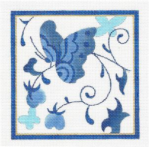 Canvas~Butterfly Blue #1 handpainted Needlepoint Canvas by Raymond Crawford