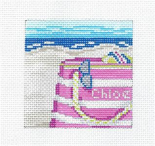 "Canvas-""PERSONALIZE"" Beach Bag 3"" Sq. handpainted Needlepoint Canvas Needle Crossings"