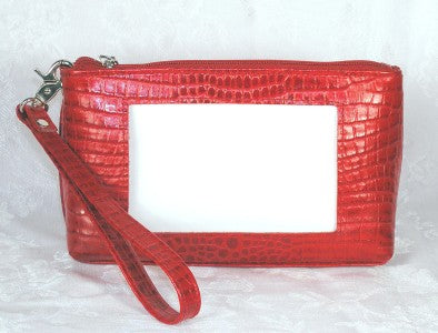 Accessory~Cosmetic Case Red Leather Evening Purse for Needlepoint Canvas by LEE BAG 45