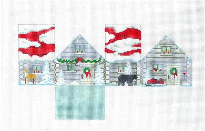 CABIN IN THE WOODS 3-D HOUSE handpainted Needlepoint Ornament by Susan Roberts