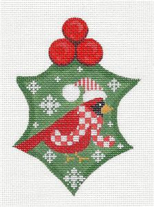 Holly~Holly with Cardinal handpainted Needlepoint Canvas by CH Designs ~ Danji