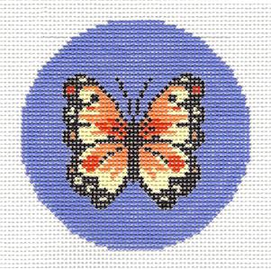 Round~LEE Yellow Orange and Red Butterfly handpainted Needlepoint Canvas