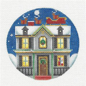 Round ~ On the Housetop handpainted Needlepoint Canvas by Rebecca Wood