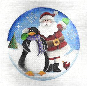 Round ~ Santa and Friends handpainted Needlepoint Canvas by Rebecca Wood
