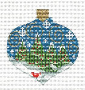 Bauble Cardinal & Trees Ornament handpainted Needlepoint by CH Designs ~ Danji