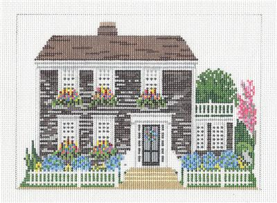 Canvas House~ NANTUCKET Cedar Shake Home handpainted 18m Needlepoint Canvas by Needle Crossings