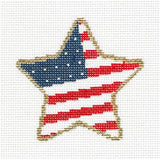 Star~ American Flag Star & STITCH GUIDE handpainted Needlepoint Canvas by Painted Pony