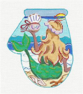 Mitten~Mermaid on a Mitten handpainted Needlepoint Canvas by KAMALA from JulieMar
