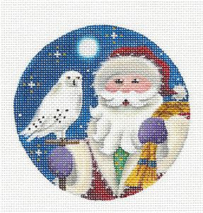 Round ~ Winter Fox Ornament handpainted Needlepoint Canvas by Rebecca Wood