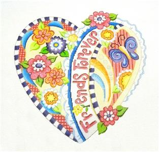 Canvas~FRIENDS FOREVER Heart handpainted Needlepoint Canvas by Strictly Christmas